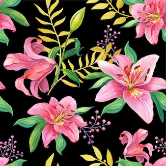 Pink lilies.watercolor flowers on a black