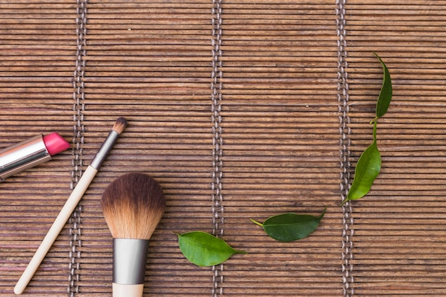 Pink lipstick and two makeup brushes with green leaves on placemat
