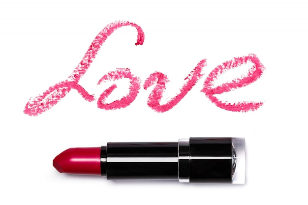 Pink lipstick with lattering love