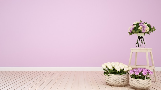 Pink living room or coffee shop decoration flower