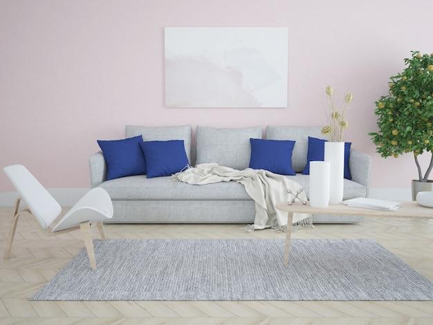 Instagramの外のソファ付きピンクのリビングルーム