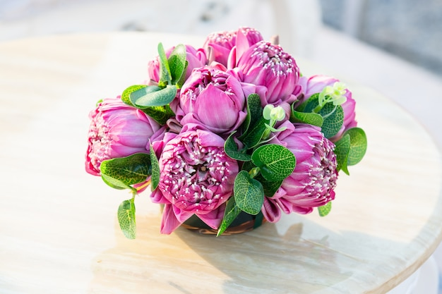 Pink lotus flowers prepared for worship