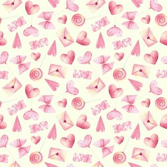 Розовые элементы дня любви на светло-желтом фоне печати