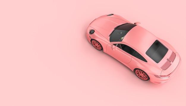Розовый роскошный спортивный автомобиль на розовом фоне. 3d визуализация