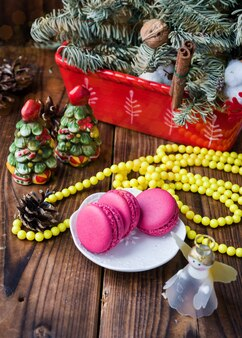 Pink macarons with christmas decorations