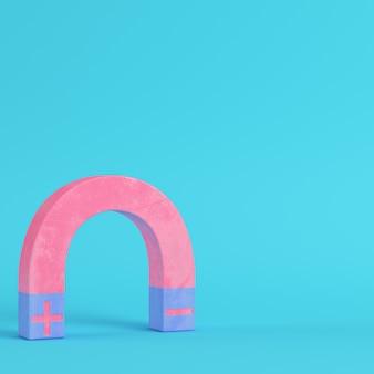 Розовый магнит на ярко-синем фоне