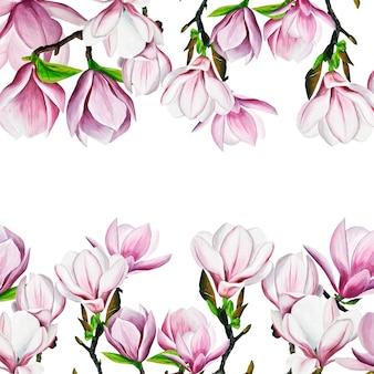 ピンクのマグノリアの描画。水彩で手描きのモクレン。枝に春の花。