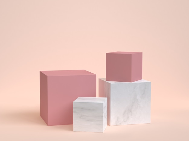 Pink marble cube box podium 3d rendering