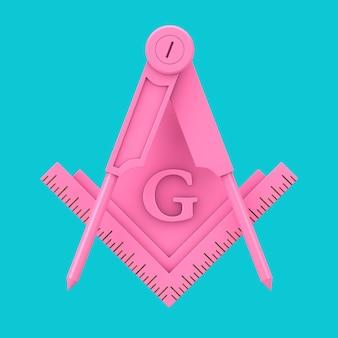 Розовый масонский квадрат масонства и компас с символом логотипа значка эмблемы буквы g в виде двухцветного стиля на синем фоне. 3d рендеринг