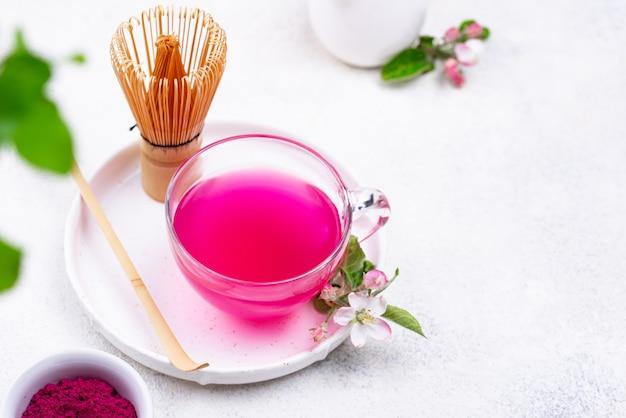Pink matcha tea from dragon fruit