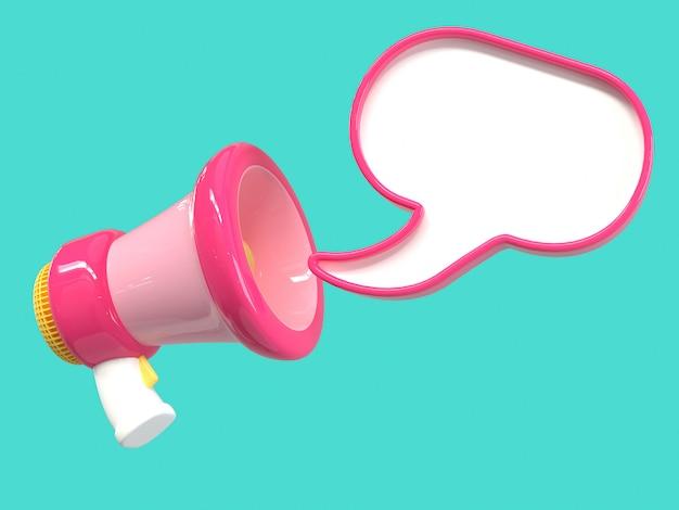 Розовый мегафон рупор мультяшный стиль зеленый фон 3d визуализации