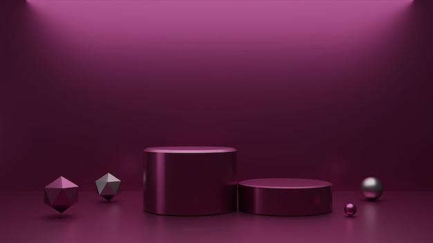 Pink metalic shape 3d render for product presentation