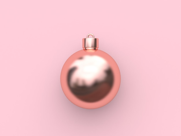 Pink metallic rose gold reflection ball-christmas ball abstract minimal pink  christmas holiday new year  3d rendering