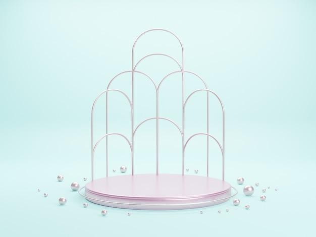 Розовая металлическая подиумная платформа для презентации продукции. минимальная сцена с геометрическими фигурами