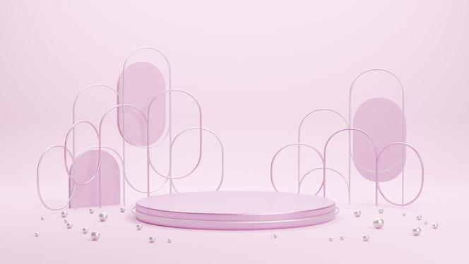 製品プレゼンテーション用のピンクのメタリックステージ表彰台プラットフォーム。幾何学的形状の最小限のシーン