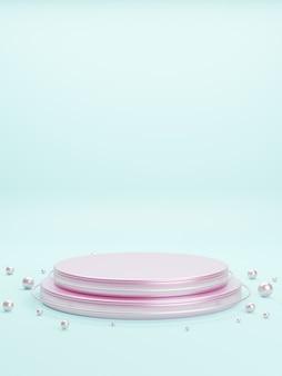 제품 발표를위한 분홍색 금속 무대 연단 플랫폼.