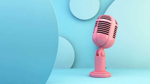 Pink microphone on blue background
