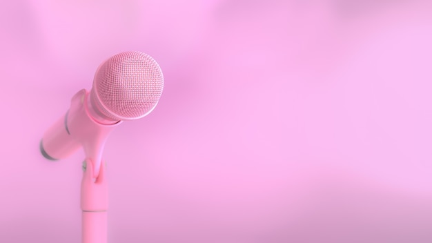 Pink microphone music background and copy space
