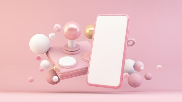 3dレンダリングでレトロなジョイスティックとピンクの携帯電話のモックアップ