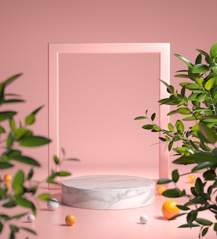 Pink modern mockup podium with frame and green plant depth of field abstract