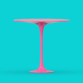 분홍색 현대 플라스틱 원형 테이블은 파란색 배경에 이중톤 스타일로 조롱합니다. 3d 렌더링
