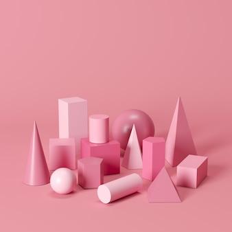 Pink monotone geometric shapes set on pink background. minimal concept idea