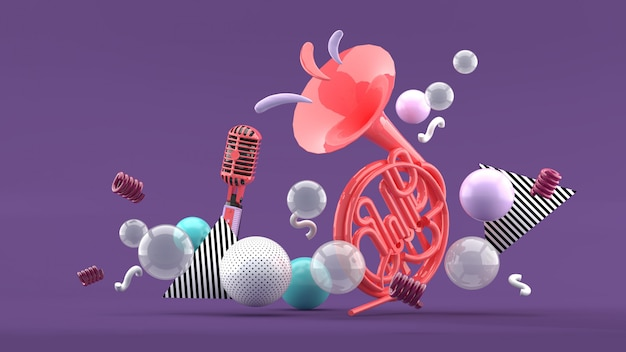 Pink musical instruments amid colorful balls on blue and purple. 3d render.