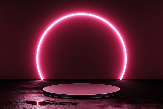 Pink neon light product background stage or podium pedestal on grunge street floor with glow spotlight and blank display platform. 3d rendering.