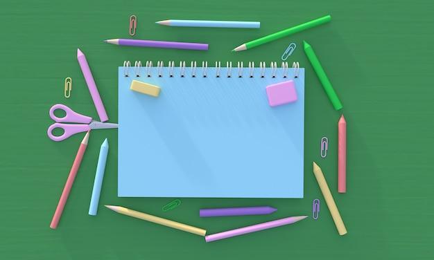 Розовый блокнот с ручкой, карандашом, мелком, ластиком, скрепкой и ножницами, 3d рендеринг, иллюстрация