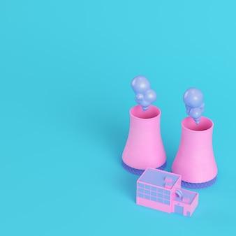 Розовая атомная электростанция на ярко-синем фоне