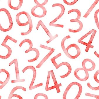 白い背景の上のピンクの数字のシームレスなパターン