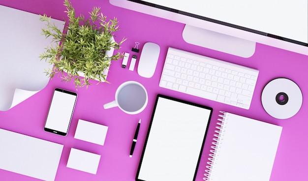 Розовый офисный бланк стационарный