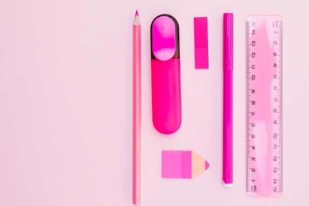 Pink office stationery layout