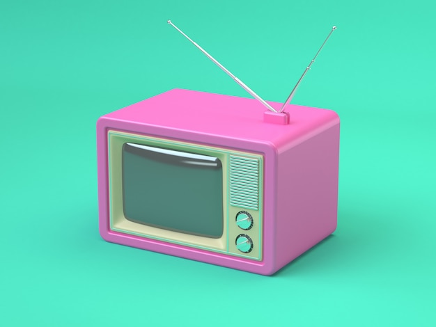 Pink old television cartoon style abstract minimal green technology concept 3d render