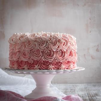 Pink ombre rose cake. celebration cake.