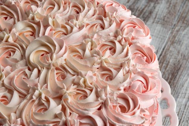 Pink ombre rose cake. celebration concept.
