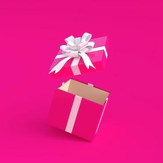 ピンクの背景に最小ピンクのピンクの開いたギフトボックス
