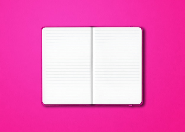 Pink open lined notebook isolated on pink