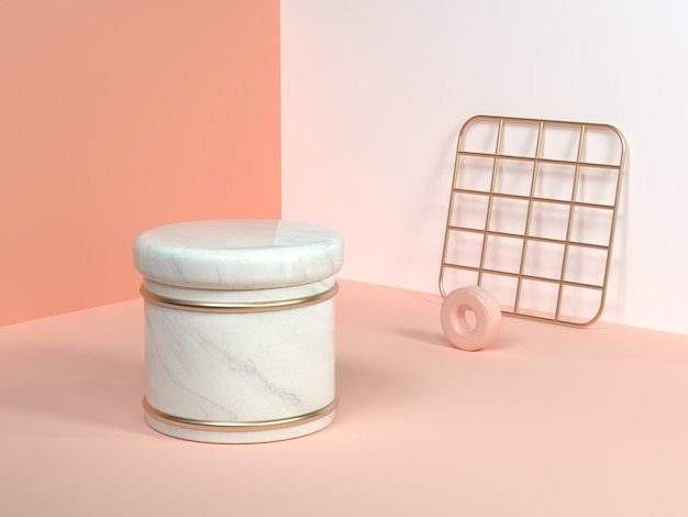 Pink/orange/cream minimal scene wall corner abstract geometric shape white marble cylinder gold square net 3d rendering