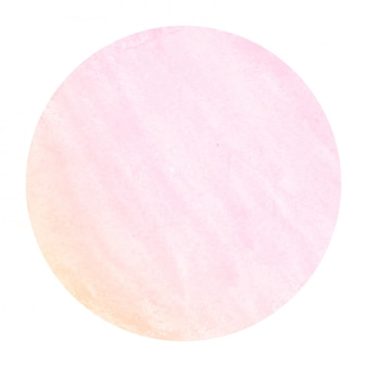 Pink and orange hand drawn watercolor circular frame background texture with stains
