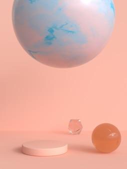 Pink/orange scene abstract 3d render blank podium