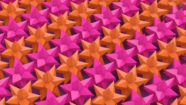 Pink and orange stars. group of glossy shapes. abstract illustration, 3d render.