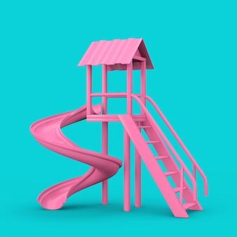 Розовые уличные дети скользят в двухцветном стиле на синем фоне. 3d рендеринг