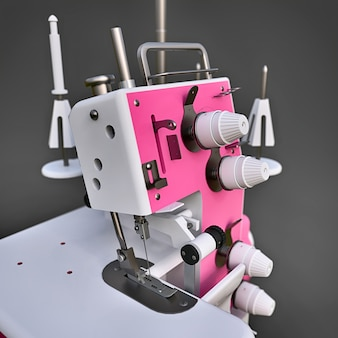 Pink overlock on a grey  . equipment for sewing production. sewing clothes and textiles. 3d illustration.