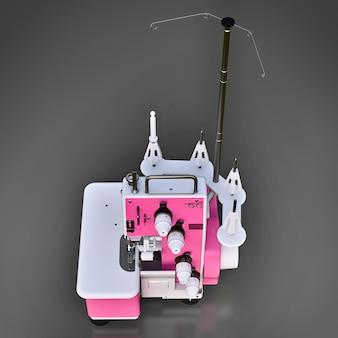 회색 바탕에 핑크 오버록입니다. 봉제 생산 용 장비. 옷과 직물 재봉. 3d 그림.