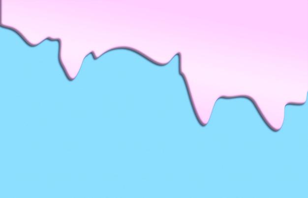 青い背景に孤立したピンクのペンキが滴る平らなピンクの油が画像の上から落ちています...