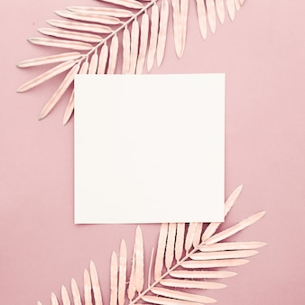 Pink palm leaves with blank frame on pink background