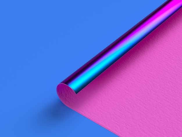 Pink paper blue metallic curve corner flat scene