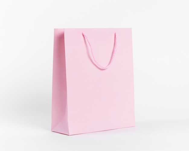Pink paper carrier bag for shopping