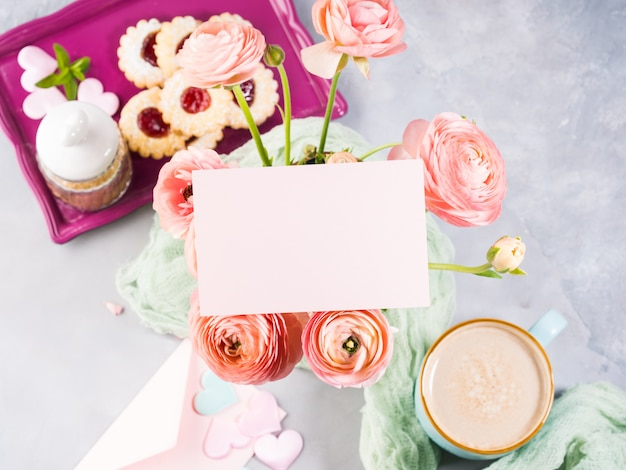 Pink paper greeting card. festive holiday breakfast. mother valentine day